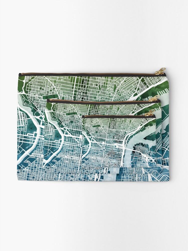 Alternative Ansicht von Philadelphia Pennsylvania Stadtplan Täschchen
