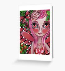 """Strawberry Butterfly Fairy"" Greeting Card"
