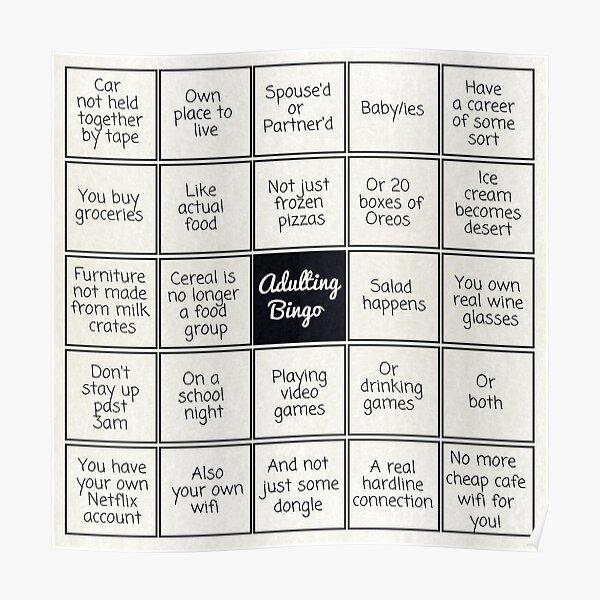Adulting Bingo Poster