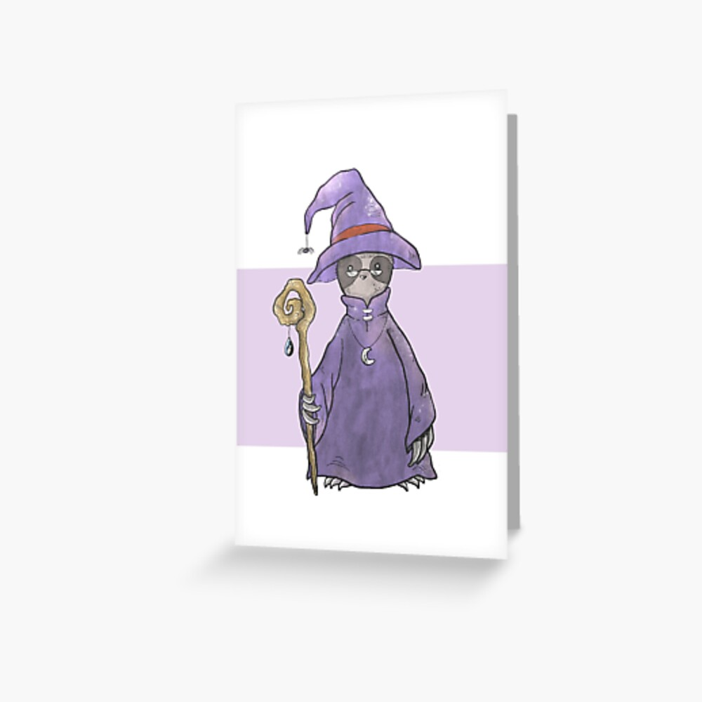 Sloth the Wizard Greeting Card