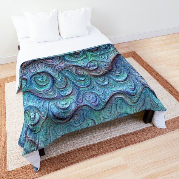 Frozen sea liquid lines and waves #DeepDream Comforter