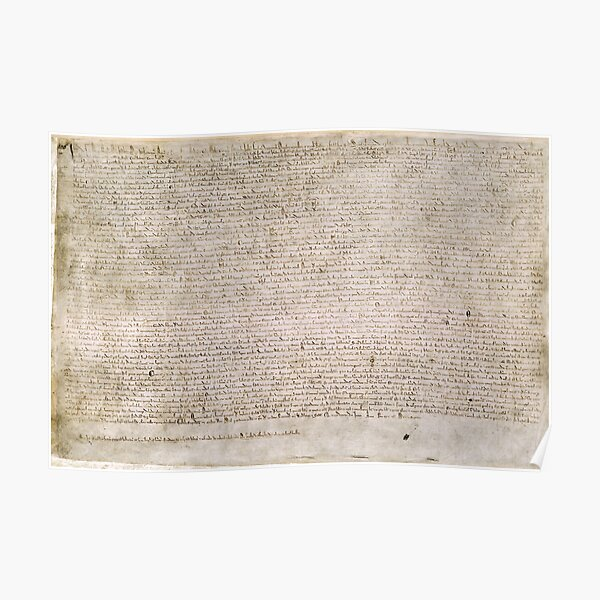 Magna Carta Exemplification of 1215 Cotton MS Augustus II Poster