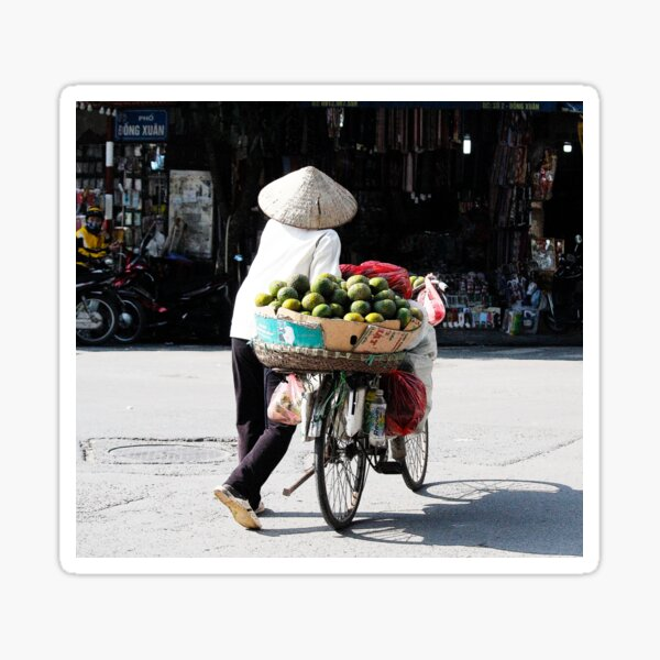 Vietnamese woman street vendor with conical hat, Hanoi Sticker