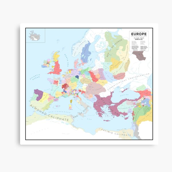 Europe in 1150 AD Canvas Print
