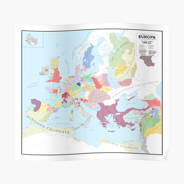 Europe in 1150 AD Poster