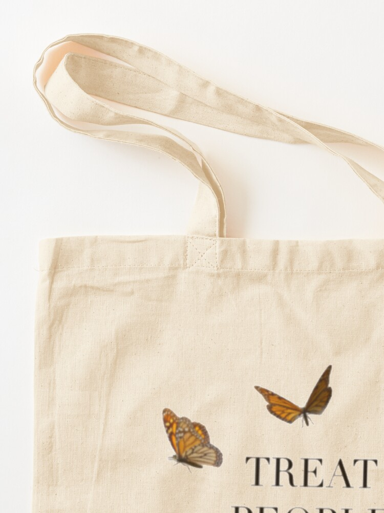 Alternate view of TREAT PEOPLE WITH KINDNESS BUTTERFLIES (HARRY STYLES) Tote Bag