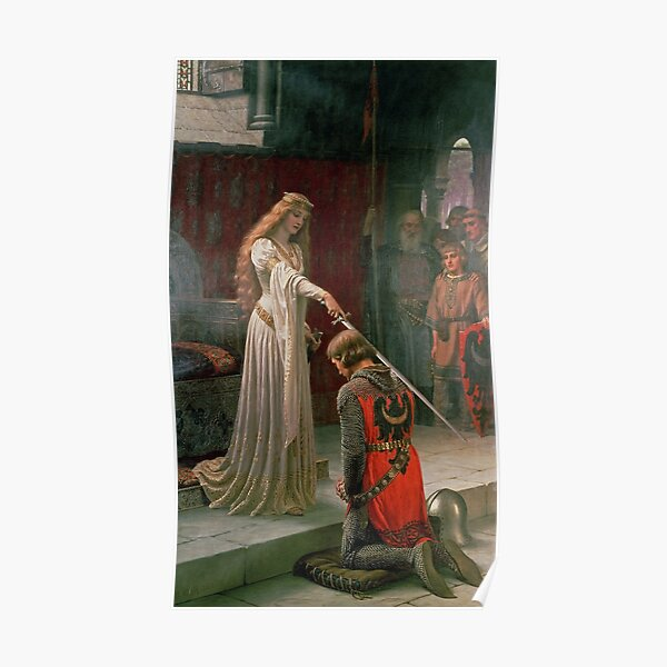 Accolade by Edmund Blair Leighton Medieval Knight Sword and Lady Original Deus Vult Painting HD Poster