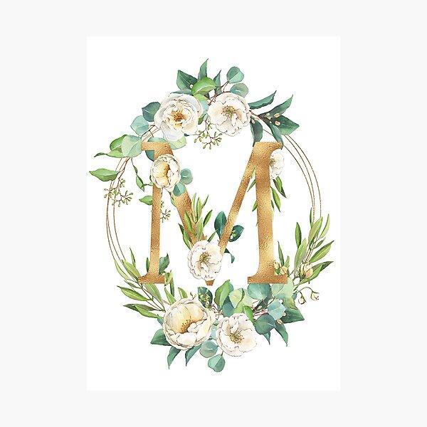 Gold Foil Floral Monogram M Photographic Print