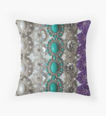 Vintage Bling, Silver, Turquoise, Pearl and Purple Throw Pillow