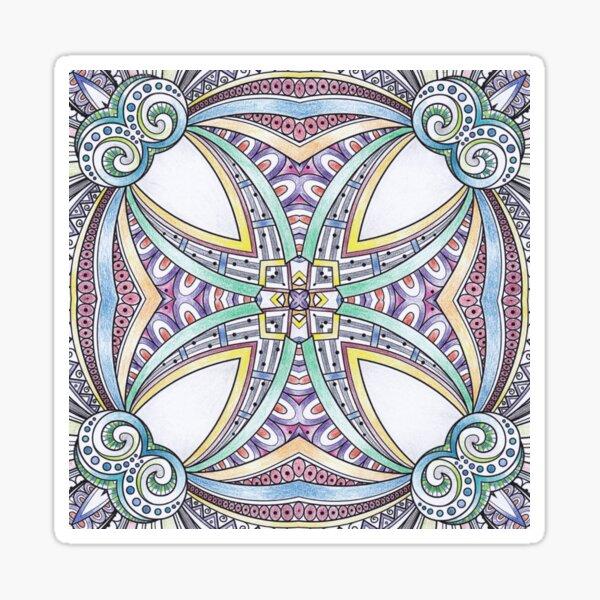 Abstract Maltese Cross   Blue Geometric Pattern Sticker
