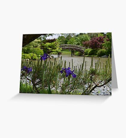 Purple Iris and Pine in Japanese Garden Greeting Card