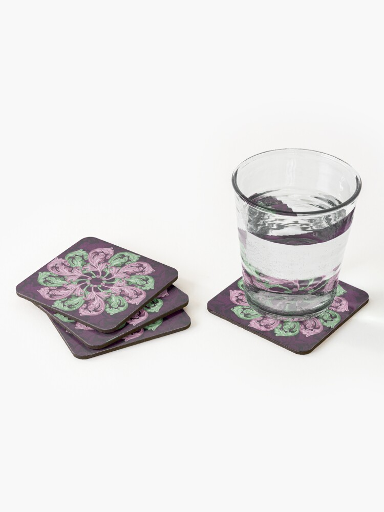 Alternate view of Acanthus mandala Coasters (Set of 4)