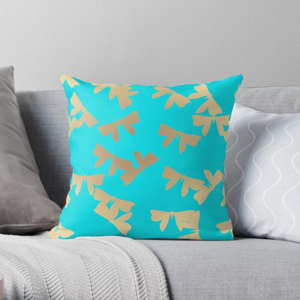 Moths - Gold on Light Blue Throw Pillow