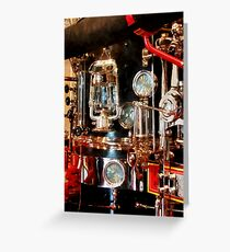 Lantern and Gauges on Fire Truck Greeting Card