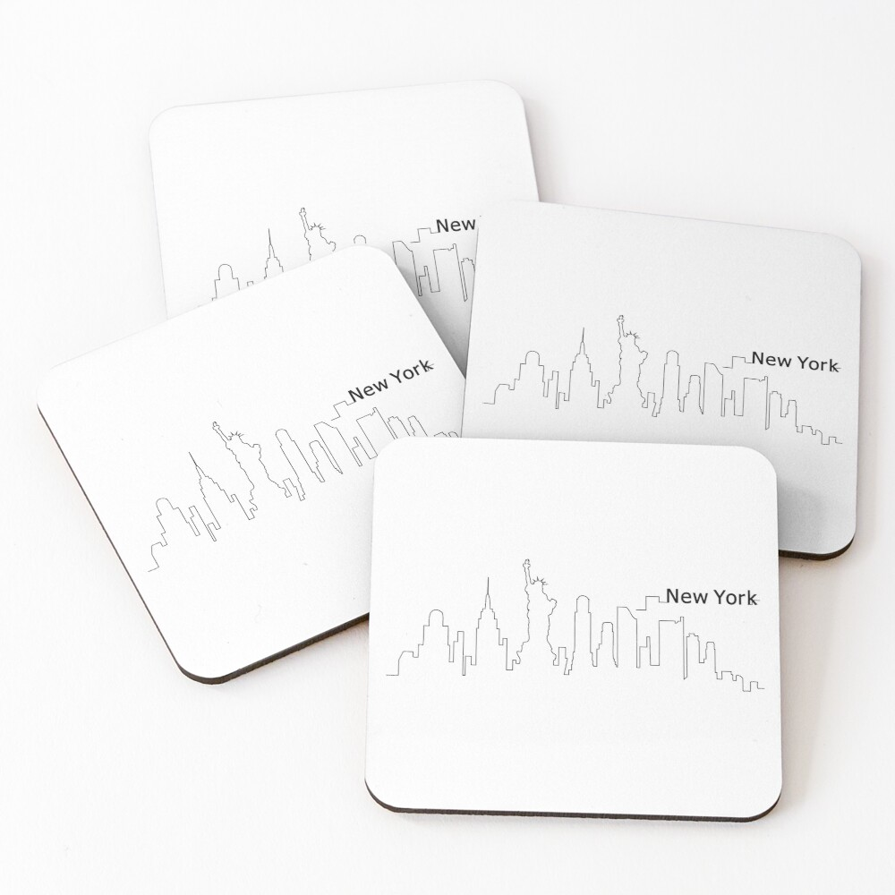 New York Skyline Outline Cityscape Travel Coasters (Set of 4)