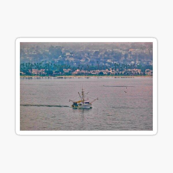 Shrimp Boat off California Coast Sticker