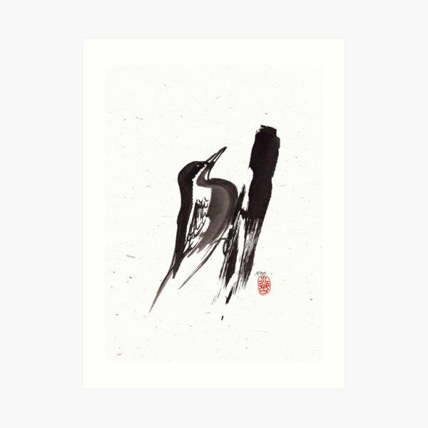 Nut Hatch Sumi-e Art Print