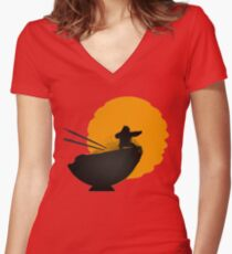 Kung Fu Panda Women's Fitted V-Neck T-Shirt