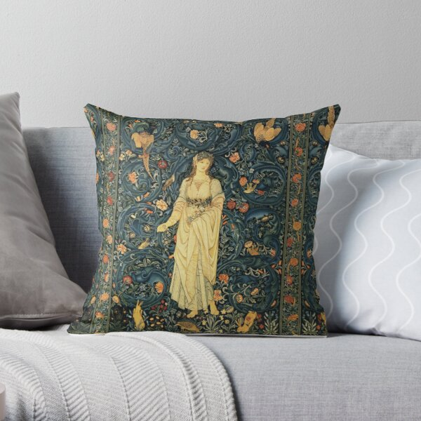 LADY FLORA, GREENERY, FOREST ANIMALS ,BIRDS ,RABBITS Blue Green Floral Tapestry Throw Pillow