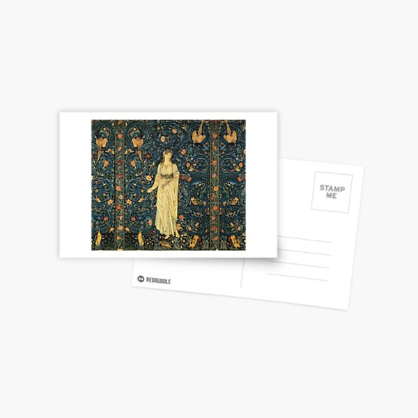 LADY FLORA, GREENERY, FOREST ANIMALS ,BIRDS ,RABBITS Blue Green Floral Tapestry Postcard