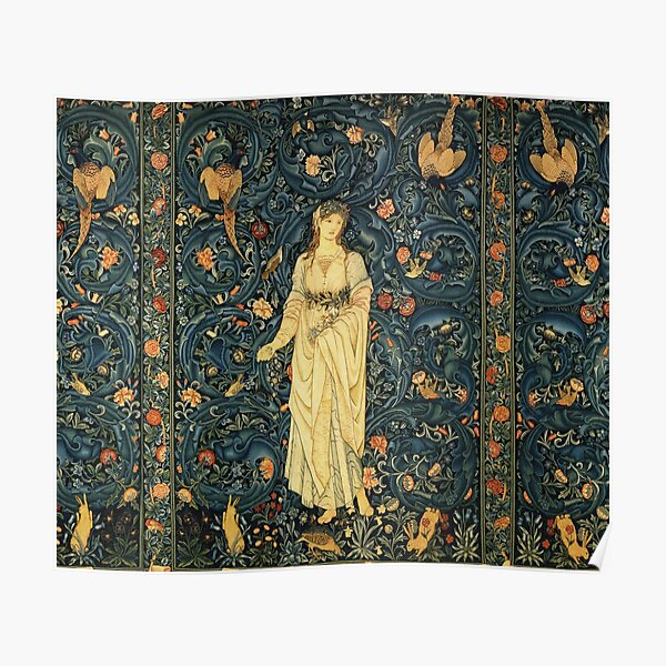 LADY FLORA, GREENERY, FOREST ANIMALS ,BIRDS ,RABBITS Blue Green Floral Tapestry Poster