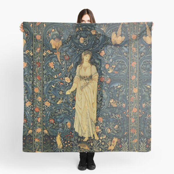 LADY FLORA, GREENERY, FOREST ANIMALS ,BIRDS ,RABBITS Blue Green Floral Tapestry Scarf