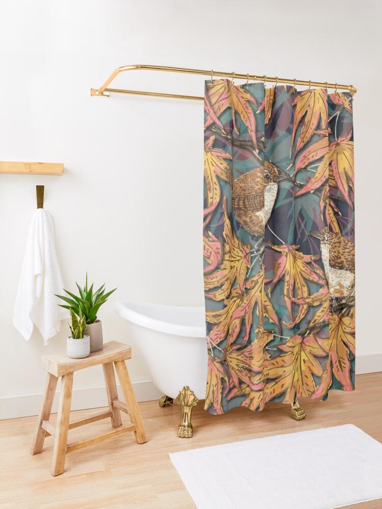 Alternate view of Garden Wrens Shower Curtain