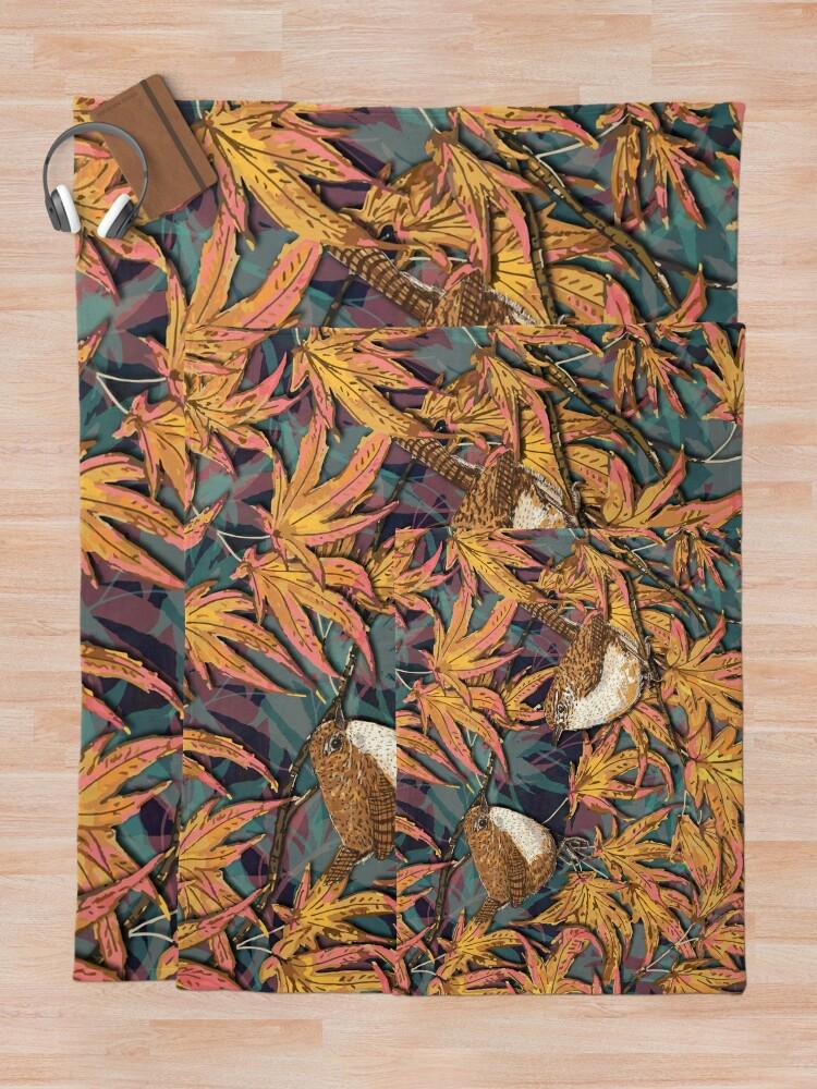Alternate view of Garden Wrens Throw Blanket