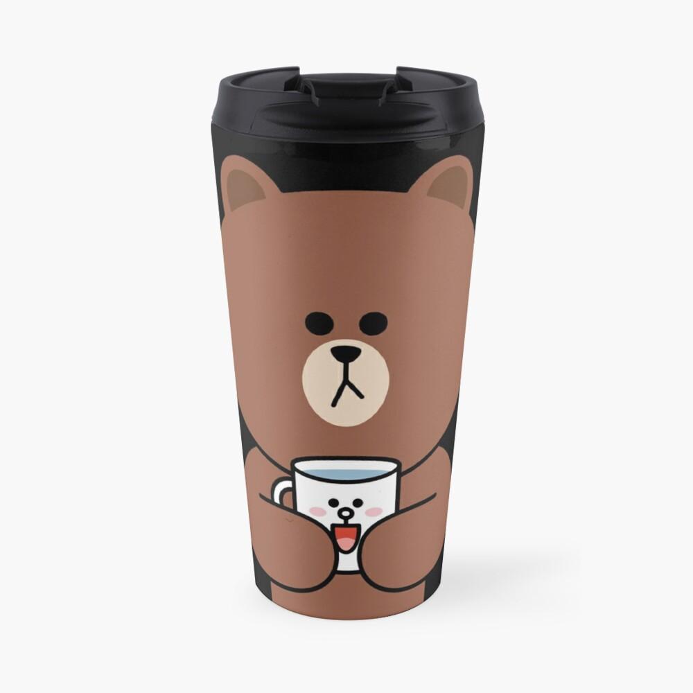Cute brown bear and Cony Travel Mug