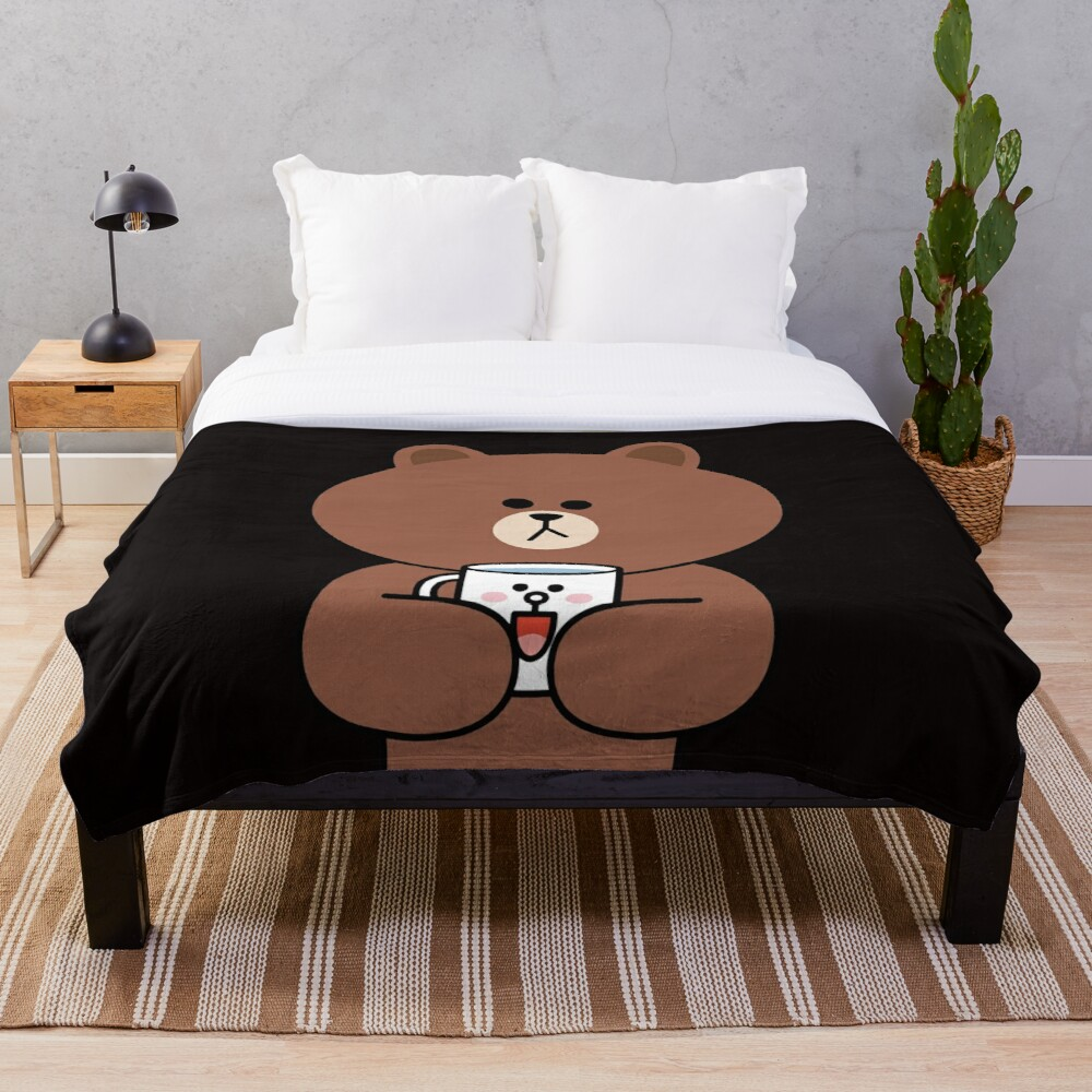 Cute brown bear and Cony Throw Blanket