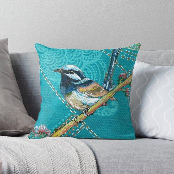 Happy little Wren - Teal Throw Pillow
