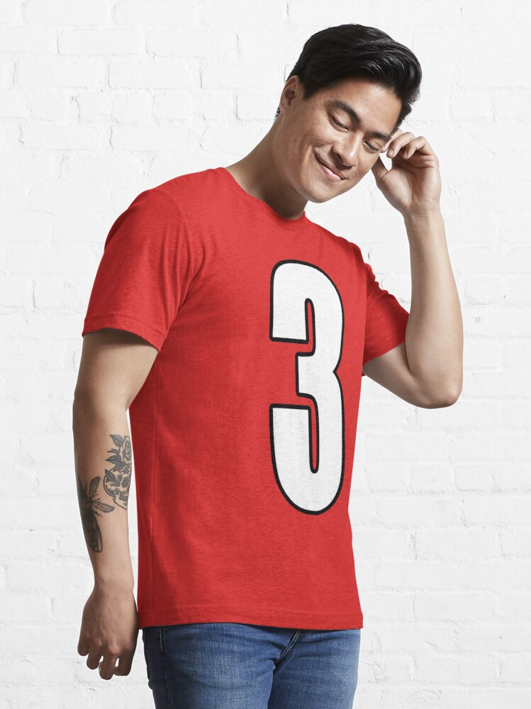 Alternate view of  Football, Soccer, 3, Three, Third, Number Three, Sport, Team, Number, Red, Devils. Essential T-Shirt