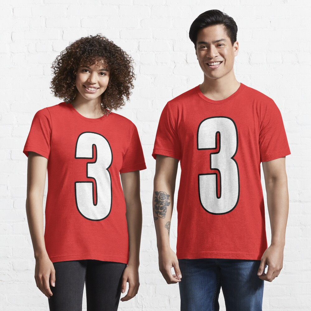 Football, Soccer, 3, Three, Third, Number Three, Sport, Team, Number, Red, Devils. Essential T-Shirt