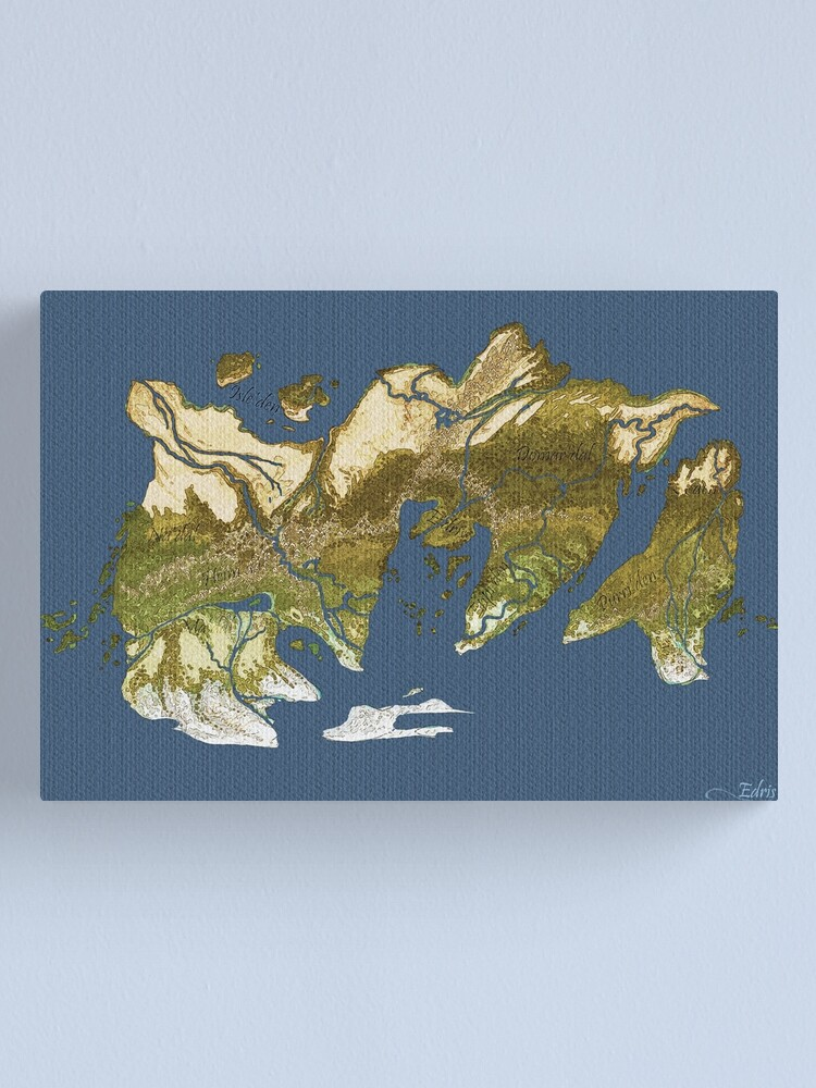 Alternate view of Map of Edris - Coloured Canvas Print