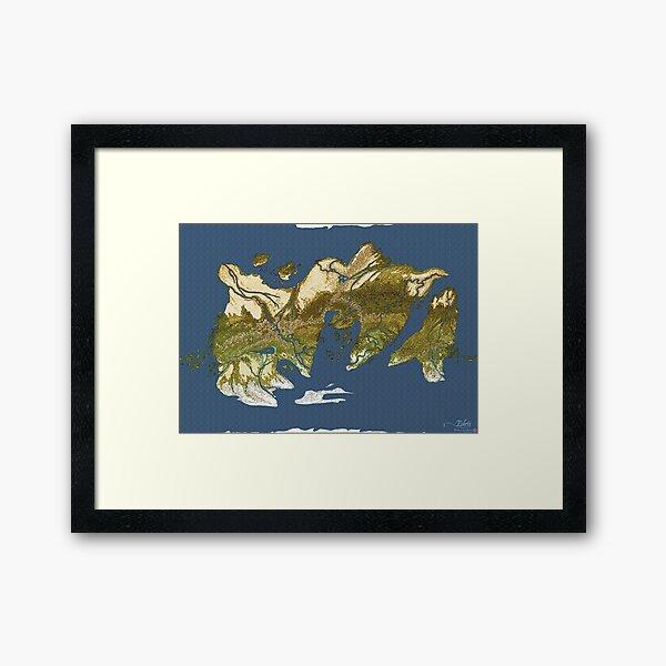 Map of Edris - Coloured Framed Art Print