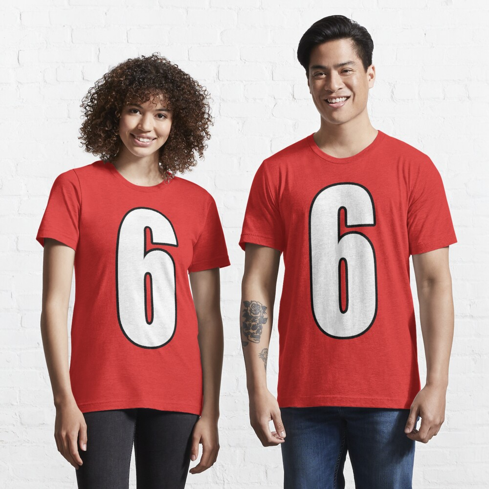 Football, Soccer, 6, 6th, Six, Sixth, Number Six, Sport, Team, Number, Red, Devils. Essential T-Shirt