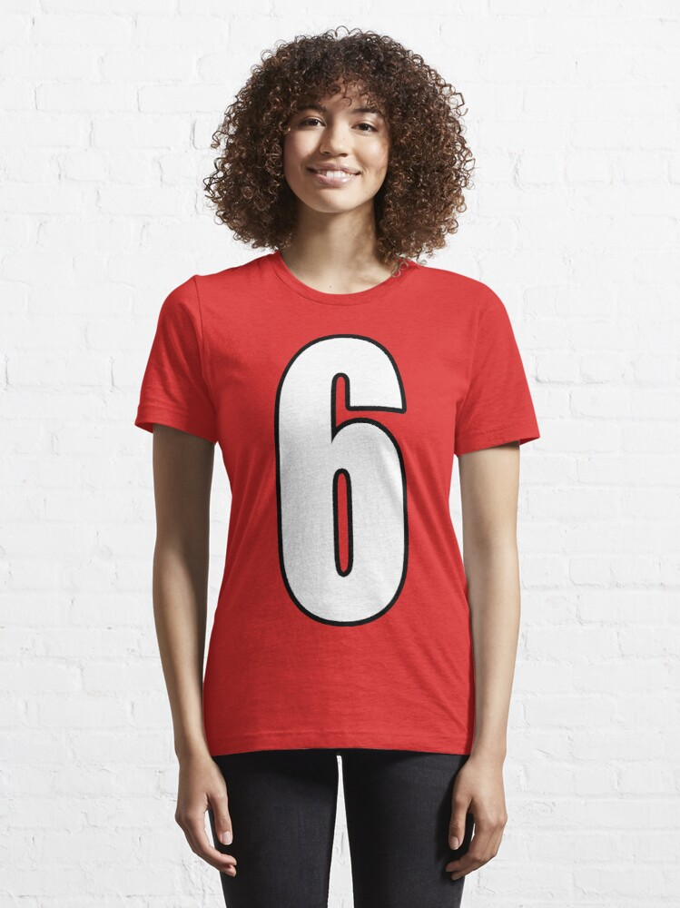 Alternate view of  Football, Soccer, 6, 6th, Six, Sixth, Number Six, Sport, Team, Number, Red, Devils. Essential T-Shirt