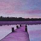 Boat bridge in the evening by olivia-art