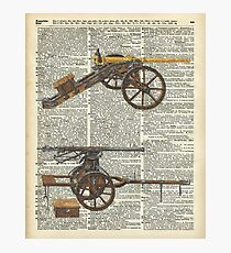 Vintage Military Cannons over Old Dictionary Book Page Photographic Print