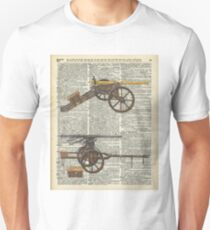 Vintage Military Cannons over Old Dictionary Book Page T-Shirt