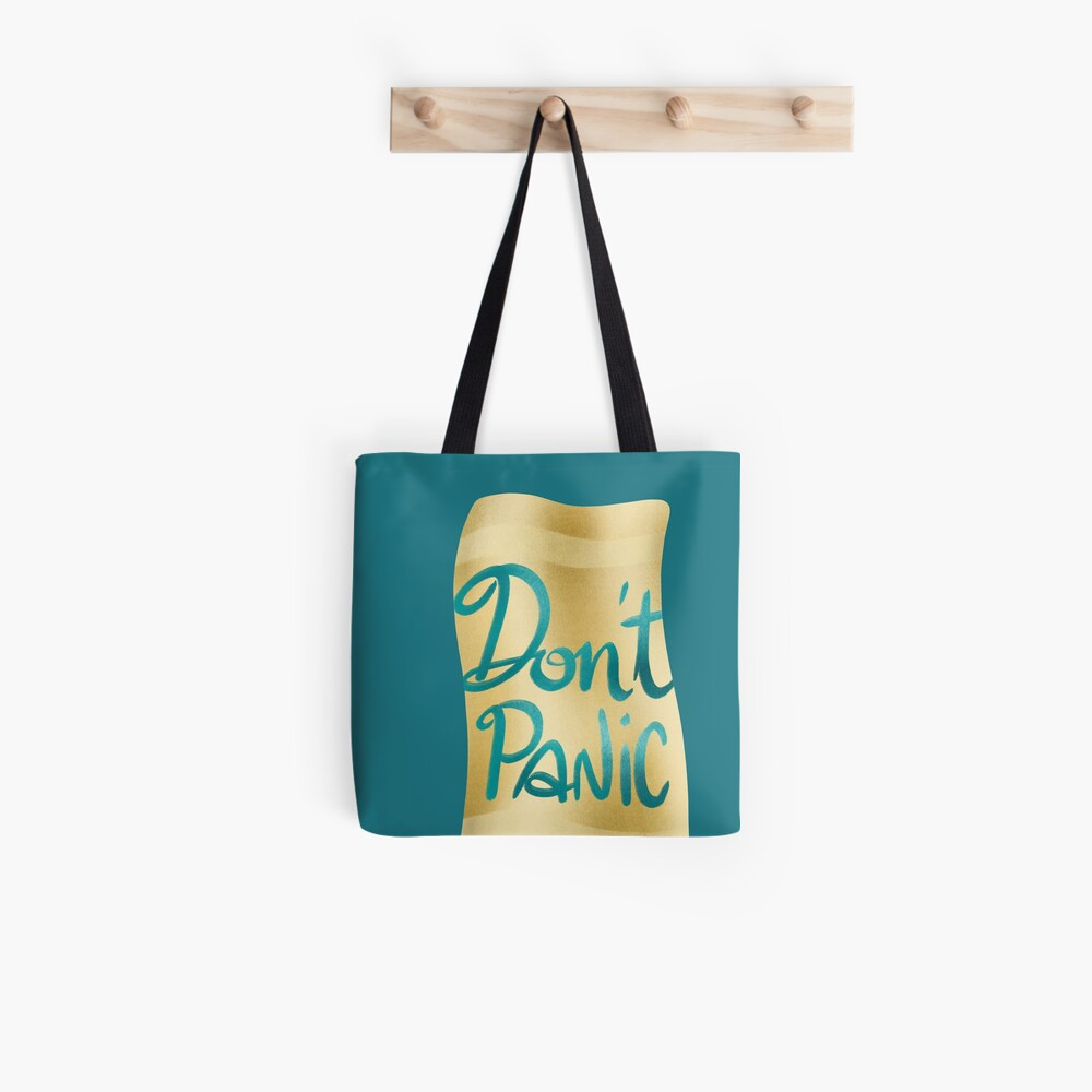 Don't panic on golden towel Tote Bag