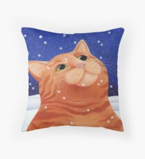 Ginger cat in snow Throw Pillow