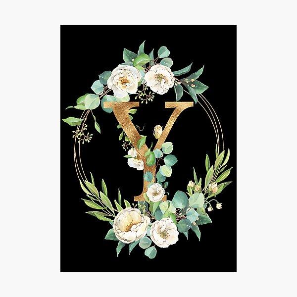 Gold Foil Floral Monogram Y Photographic Print
