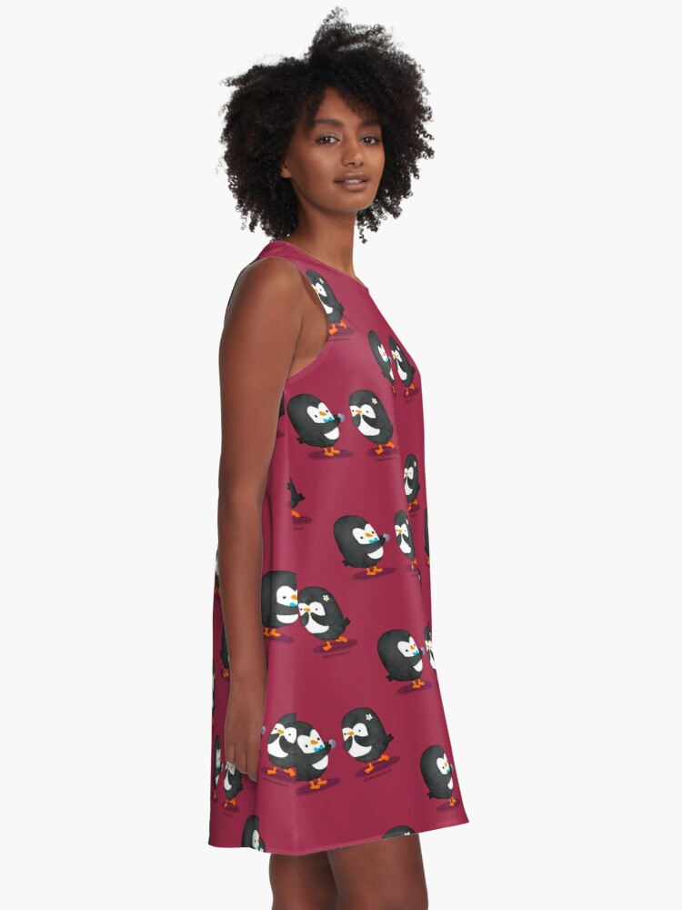Alternate view of Penguins Valentines A-Line Dress
