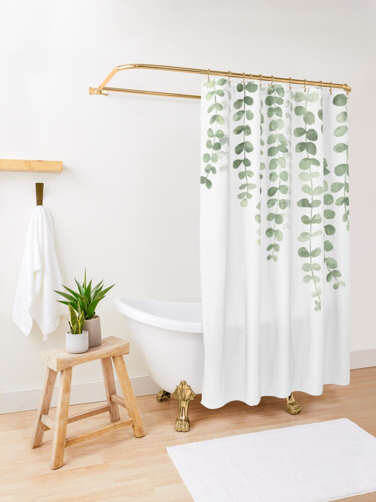 Alternate view of Eucalyptus Watercolor  Shower Curtain