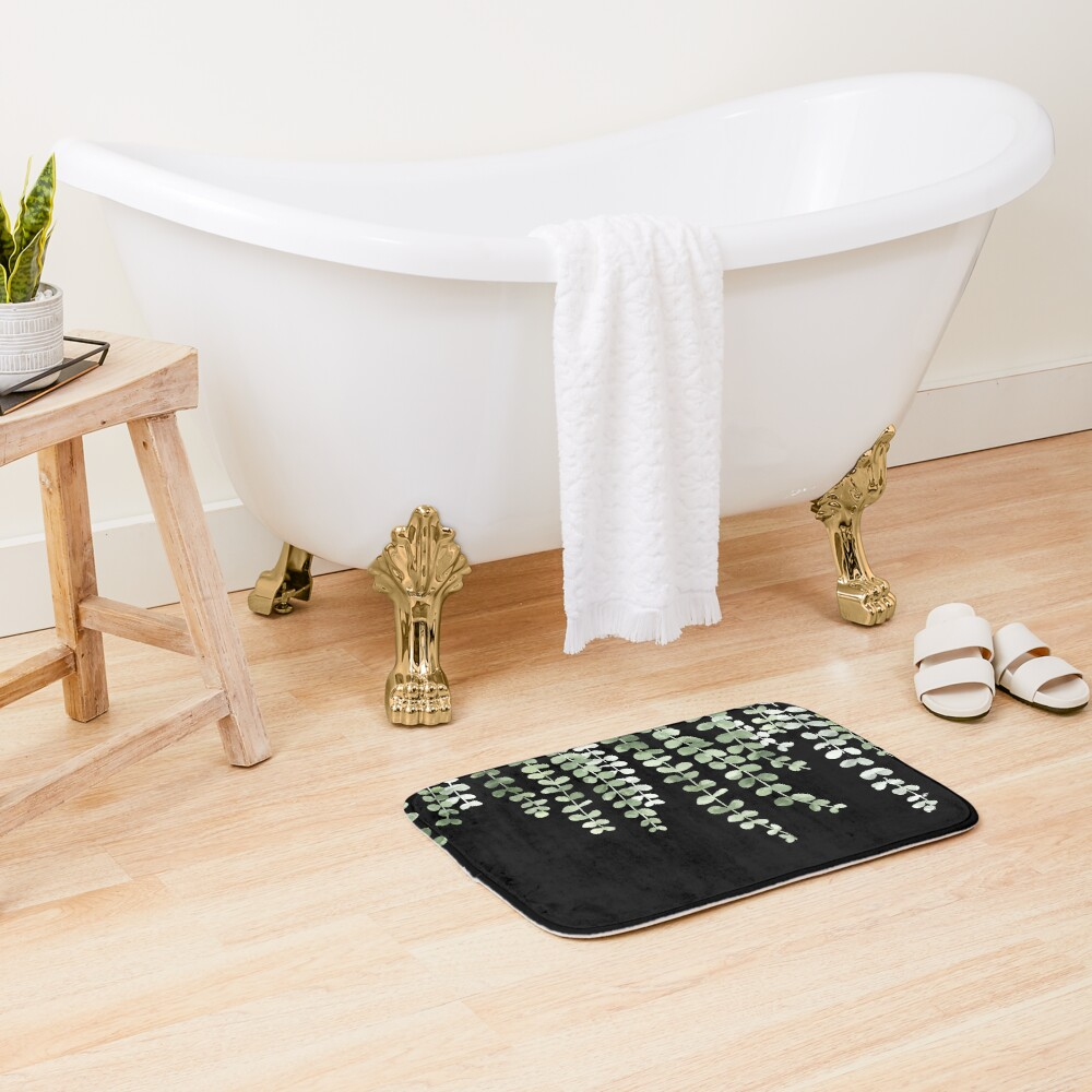 Eucalyptus Watercolor Black Bath Mat