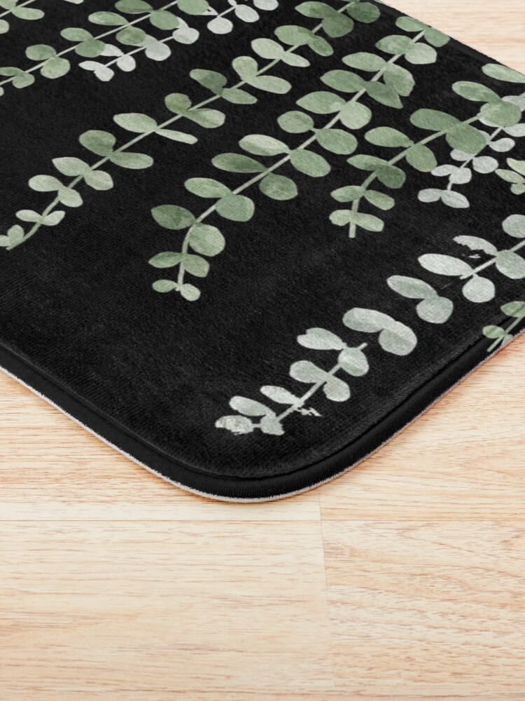 Alternate view of Eucalyptus Watercolor Black Bath Mat