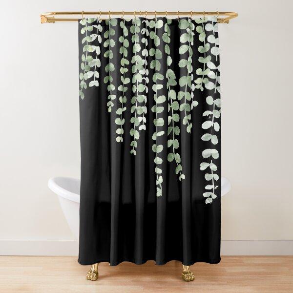 Eucalyptus Watercolor Black Shower Curtain