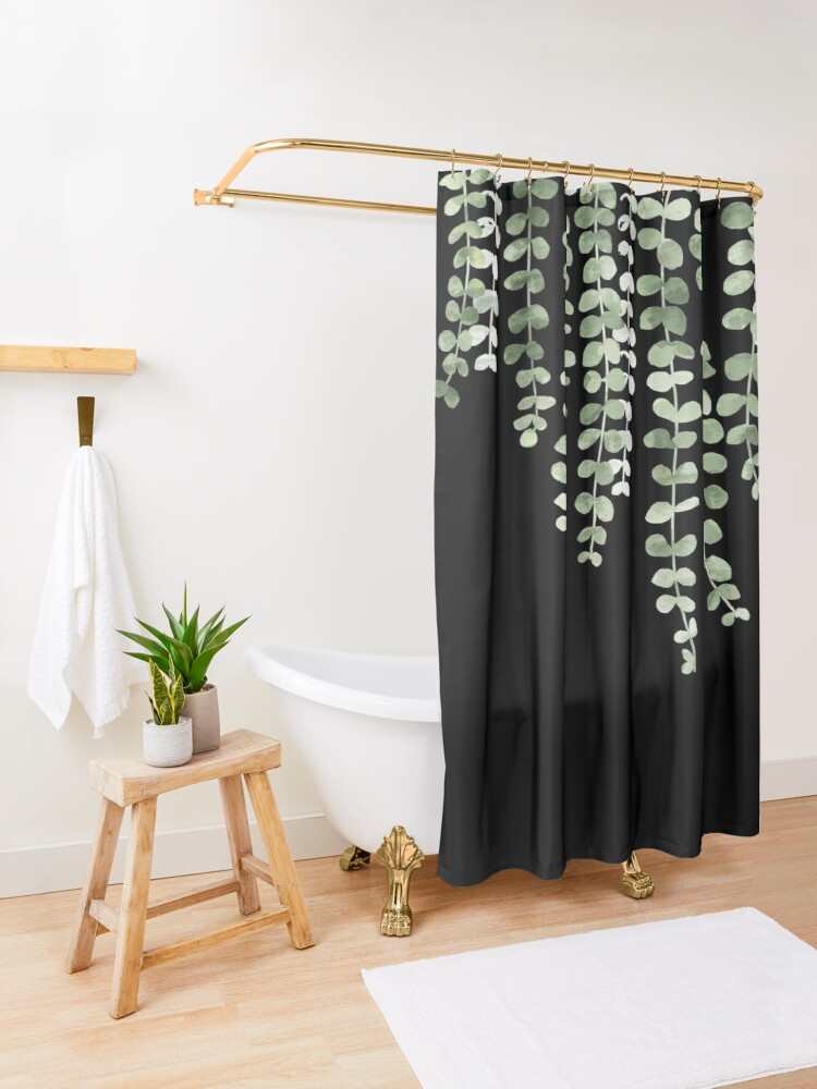Alternate view of Eucalyptus Watercolor Black Shower Curtain