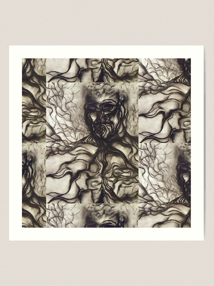 Alternate view of Breath. Adapted from the artist's charcoal drawing. Art Print